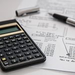 A calculator describing financial calculations and business issues.